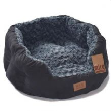 Luxurious Faux Suede Dog Beds. Black/Grey Large